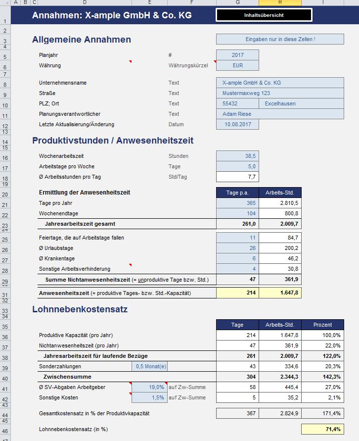 Excel Vorlage Preiskalkulation Fur Industrie Und Handwerk