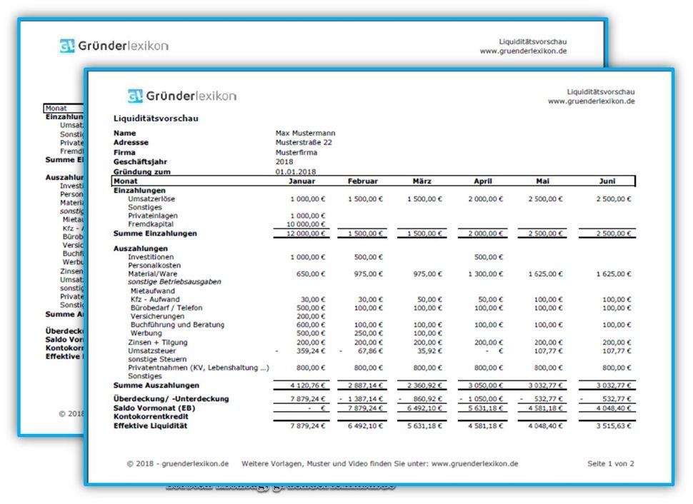 exceltabelle liquidittsplan muster - Finanzplan Beispiel