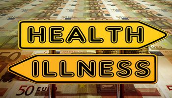 Weweiser: nach links - illness, nach rechts - health