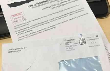 Umschlag und Brief des Registerbetrugs im Fall DPMA bei Markeneintragung
