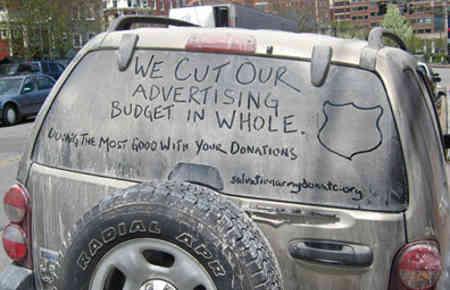 Marketing der Heilsarmee, Slogan auf dreckigem Auto